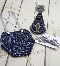 Navy blue Cake smash outfit for boy - Handmade 1st Birthday Outfit