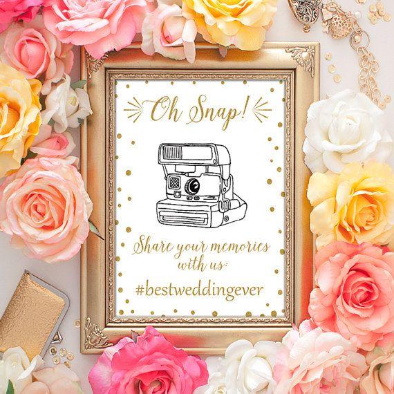 50% OFF SALE Wedding Hashtag Sign - 5x7 Hashtag Wedding Sign, Gold Sign, Wedding Hashtag Printable Art, Wedding Photography, If You Hashtag