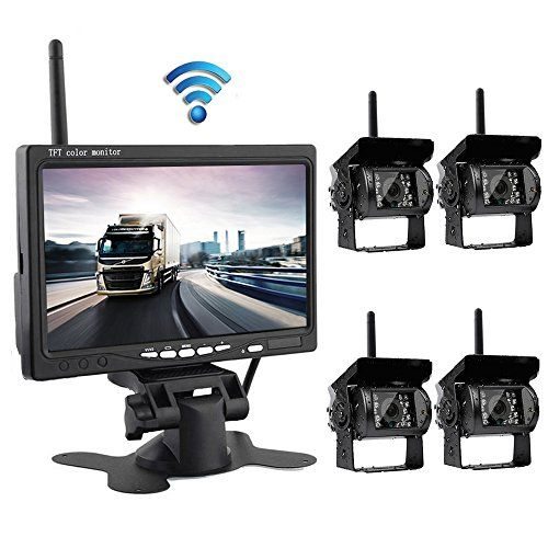 """Podofo Wireless Backup Camera System with 7"""" LCD Color Car Monitor, 4 Rear View Cameras IR Night Vision Waterproof For RV Agricultural Vehicle."""