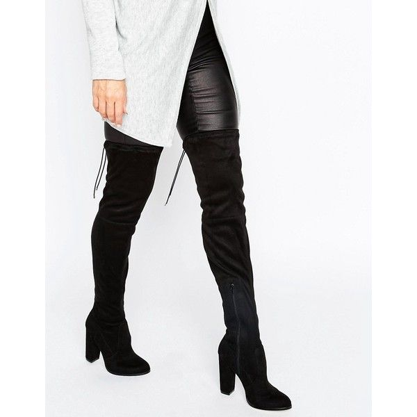 ASOS KINGDOM Wide Leg Stretch Over The Knee Heeled Boots (£55) ❤ liked on Polyvore featuring shoes, boots, black, black thigh-high boots, black over-the-knee boots, black thigh high boots, thigh high heel boots and cuffed boots