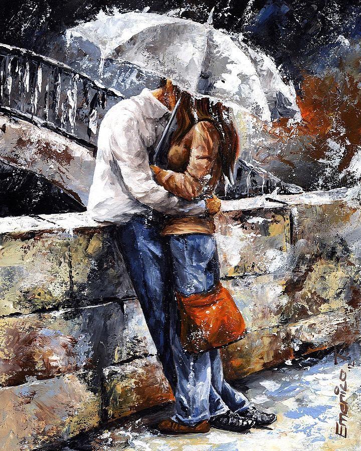 emerico toth | Rainy Day - Love In The Rain Painting by Emerico Toth - Rainy Day ...