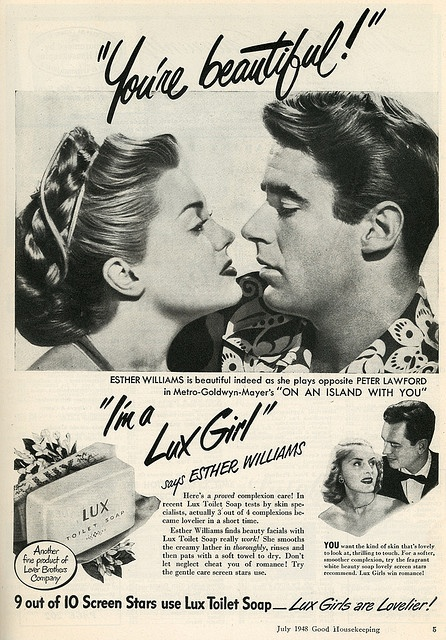 1948 Lux ad w/Esther Williams and Peter Lawford