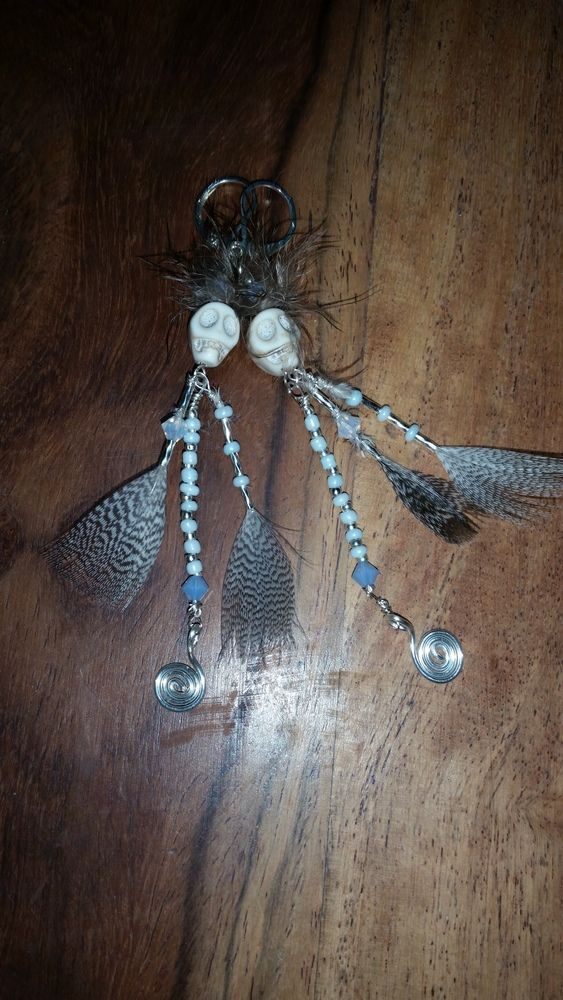 Silver bead and Feather tribal skull dangly earrings £12.00