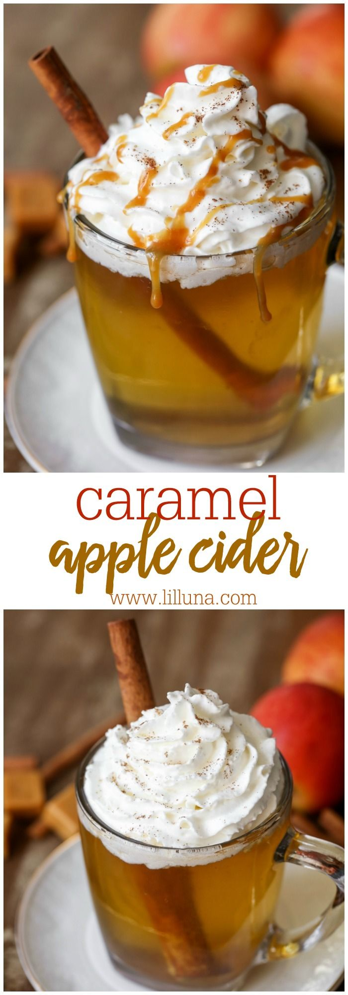 DELICIOUS Caramel Apple Cider - one of the easiest and yummiest drinks to enjoy during fall and Halloween!