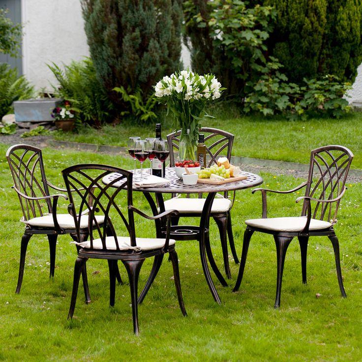 Metal Garden Furniture Set 5 Piece Patio Cast Aluminium Round Table 4 Chairs