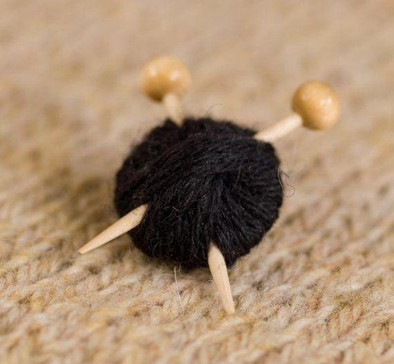 Knitting Brooch Black Ball of Yarn and Needles by maxsworld (for kara)