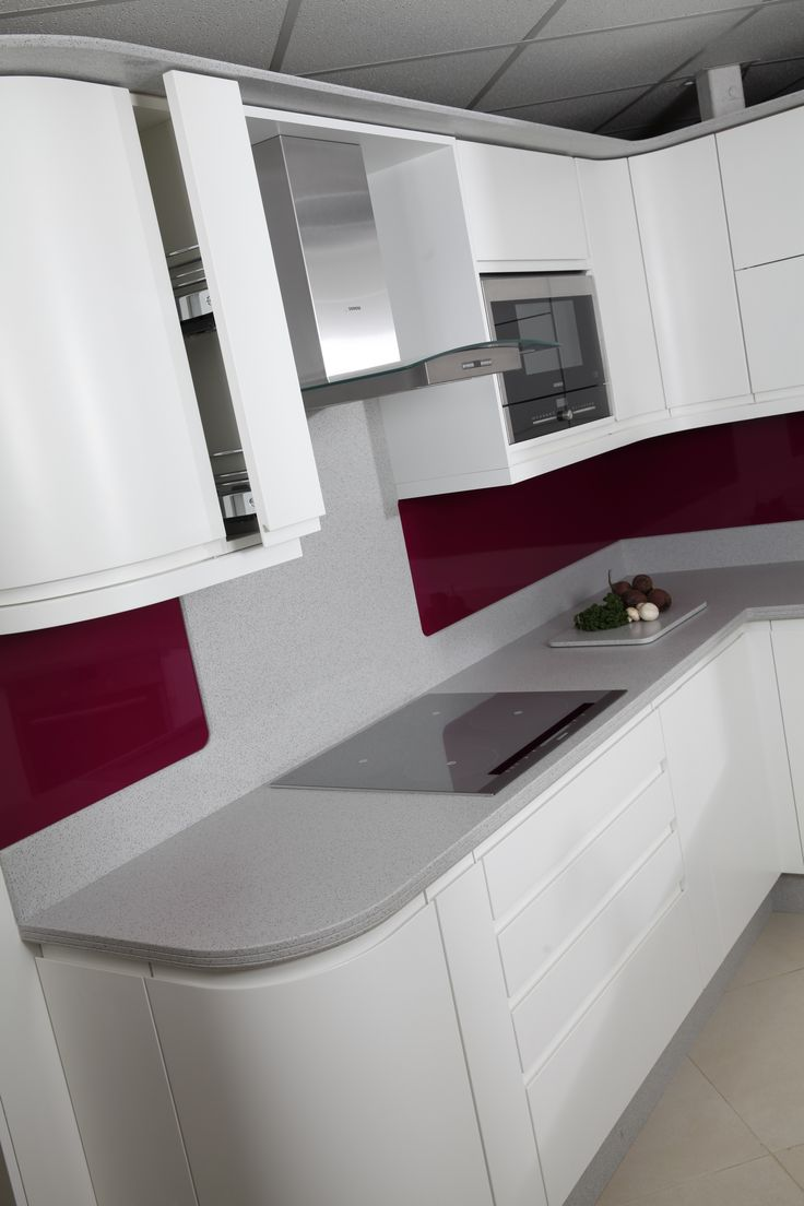 MISTRAL Worktops - Arctic Frost with a splash of colour.