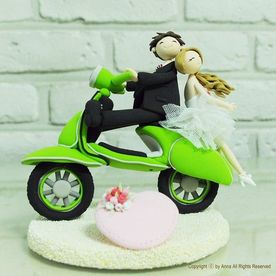 Cute couple on the bike (Vespa) wedding cake topper, Decoration, Gift  #ridecolorfully #katespadeny #vespa