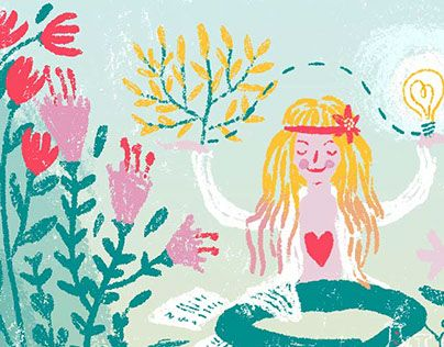 Editorial illustration, Flower Power Blooms in the Lab #editorial #illustration #hippie #flowerpower #floral #art #happy