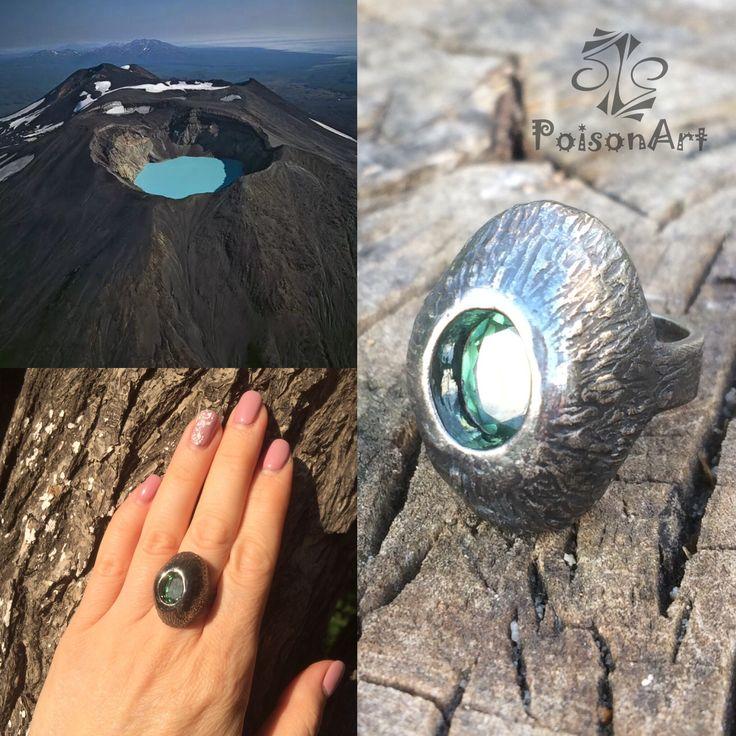 "The Ring ""Volcano"". The lake in an extinct volcano. Silver 999, nanosital."