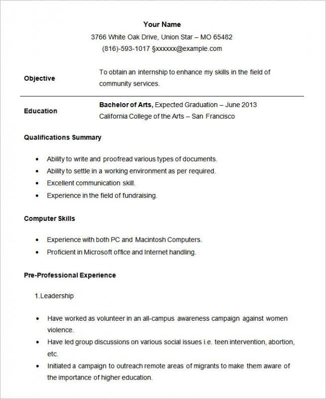 Internship Resume Template template Pinterest Template - 2016 resume formats drafter