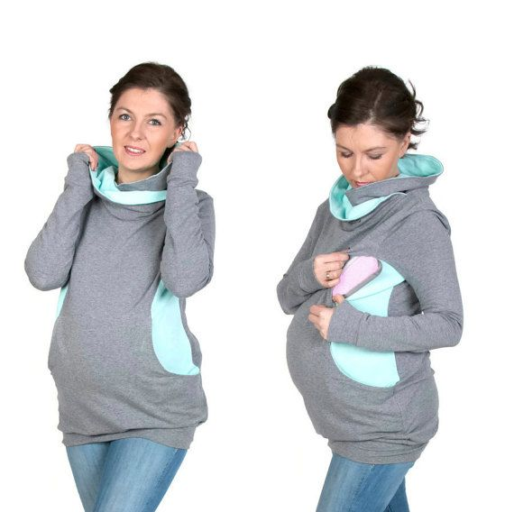 3 in 1 Maternity Pregnancy Sweatshirt Multifunctional Nursing Breastfeeding TUNIC WRAPAROUND TOP with zippers S/M grey/mint