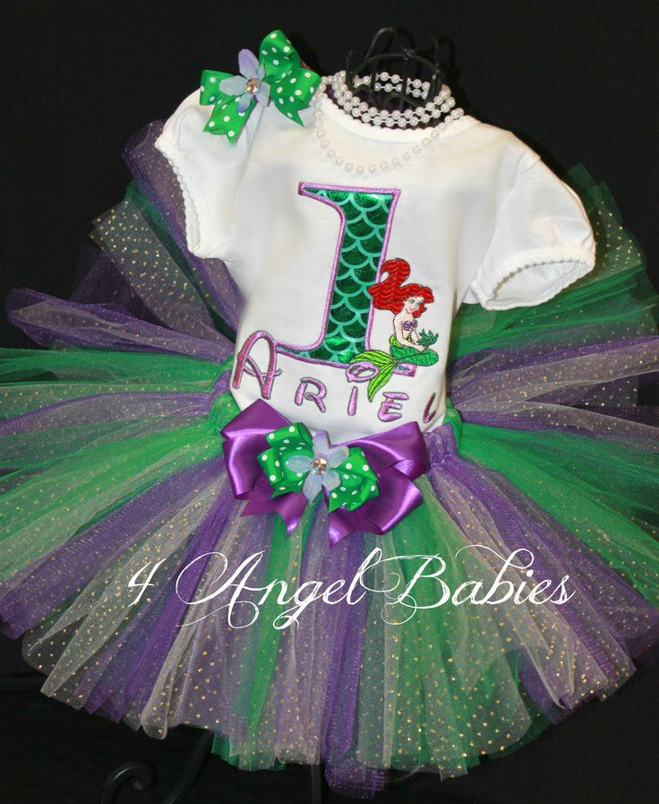 LITTLE MERMAID ARIEL Girls Birthday Tutu Outfit Purple & Green : 4 Angel Babies, Custom Creations for the Angels in your life!