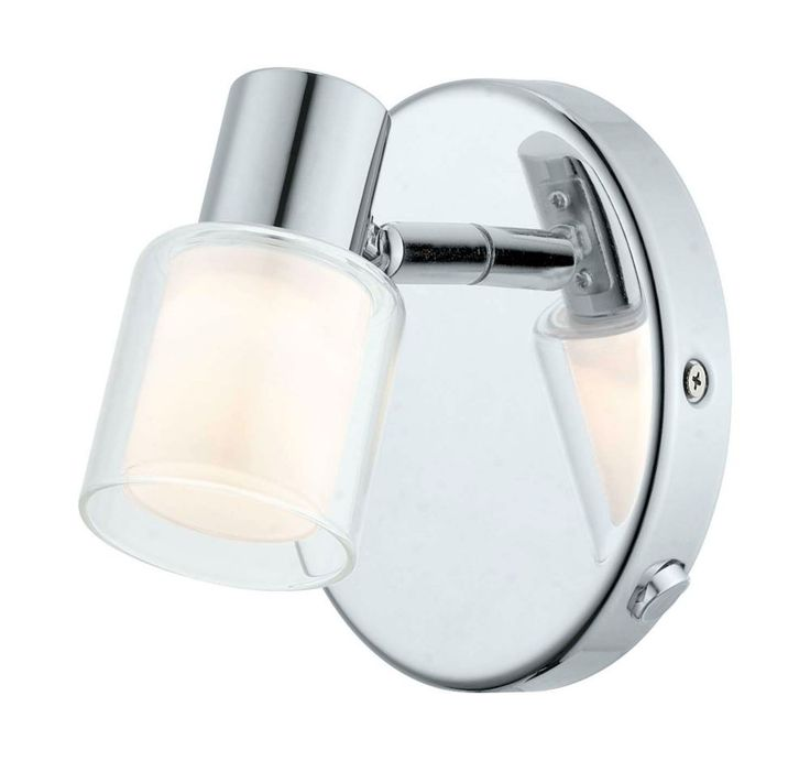 Salti LED Wall Light 1L, Chrome Finish with Frosted & Clear Glass