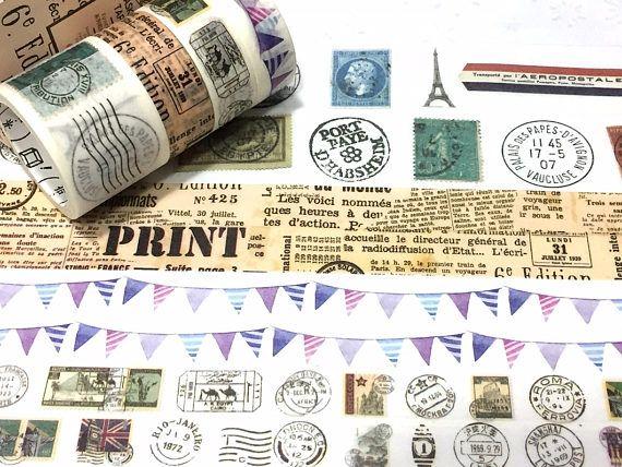 4 rolls classic stamp chop postage stamp Washi tape vintage