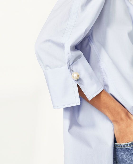 Image 6 of POPLIN SHIRT WITH PEARLS DETAIL from Zara