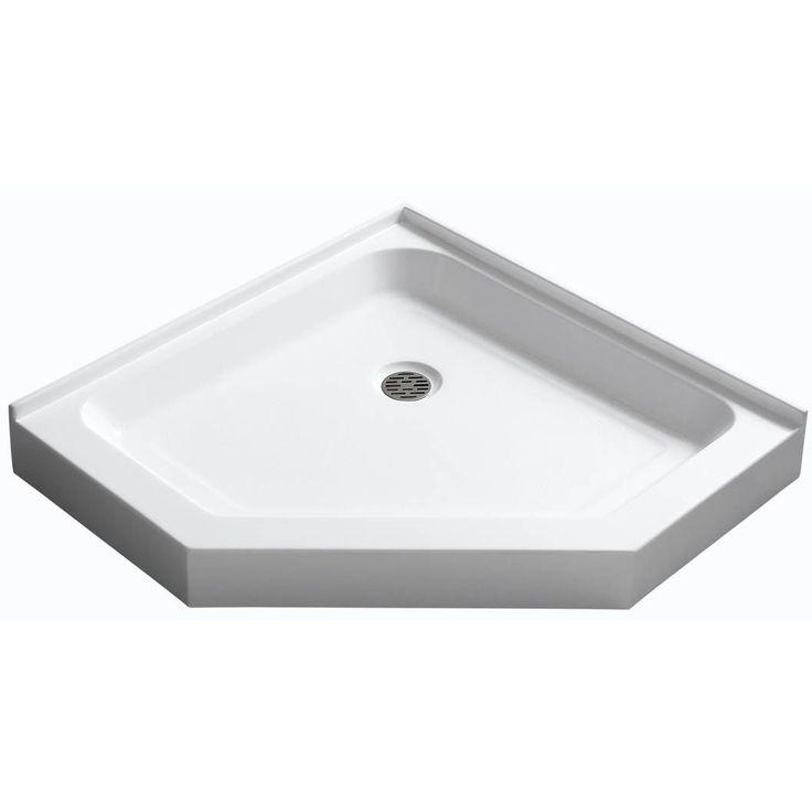 anzzi randi 36 x 36 in neoangle double threshold shower base in white
