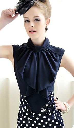 Navy Blue Bow Blouse and Polka Dot Skirt.