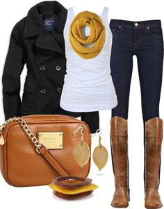Navy with a pop of mustard