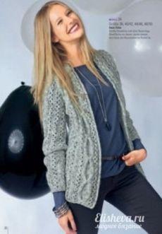Стильный жакет-накидка, вязаный спицами | Блог elisheva.ru