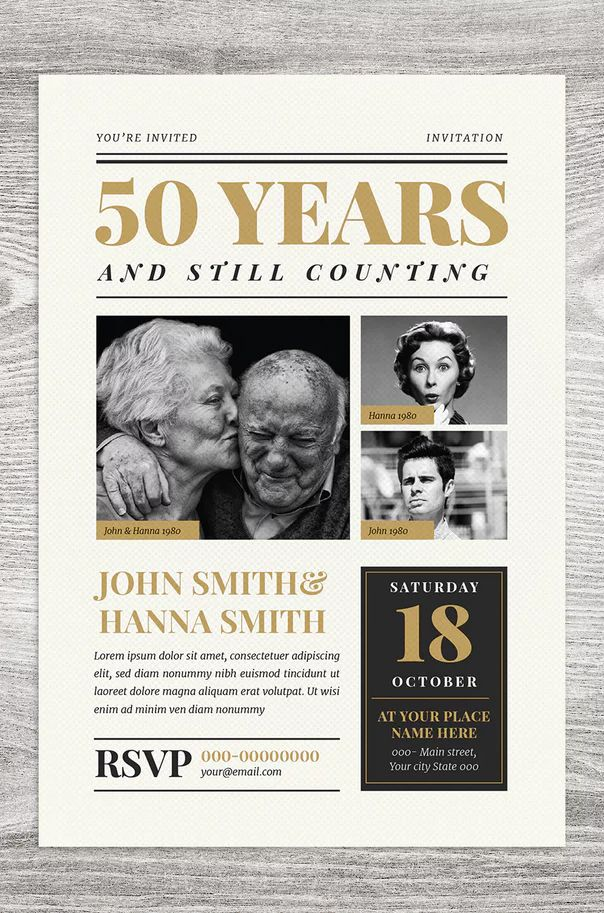 newspaper wedding anniversary invitation template ai  psd
