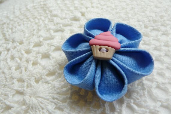 Cupcake on a jay blue kanzashi flower hair clip / by ImwtheBand