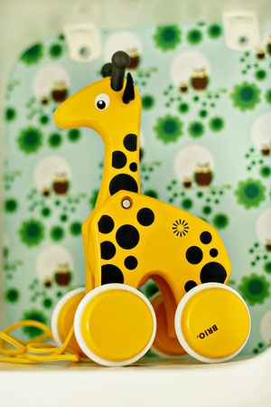 Funky giraffe made by Brio. This nursery was designed by Therese, Tipsy Tessie, from Sweden.