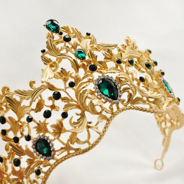 БОЛЬШАЯ ДИАДЕМА - КОРОЛЕВЫ  Золотой с зеленым камнем