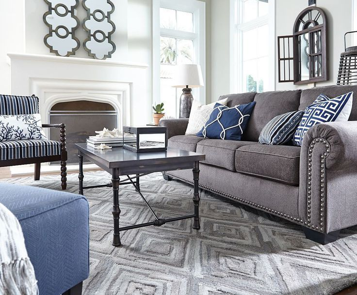 Cool Grey Tones And Blue Accent Pillows Texture Studs On Sofa