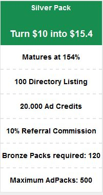 RevTrafficVerts Silver Pack http://bit.ly/revtrafficverts Turn $10 into $15.4 Matures at 154% 100 Directory Listing 20.000 Ad Credits 10% Referral Commission Bronze Packs required: 120 Maximum AdPacks: 500