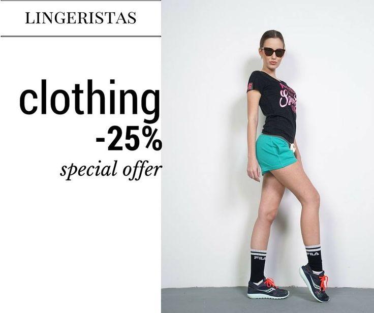 Σούπερ προσφορά -25% σε όλα τα ρούχα μας. Κάντε δική σας την ποιότητα lingeristas σε καταπληκτικές τιμές.