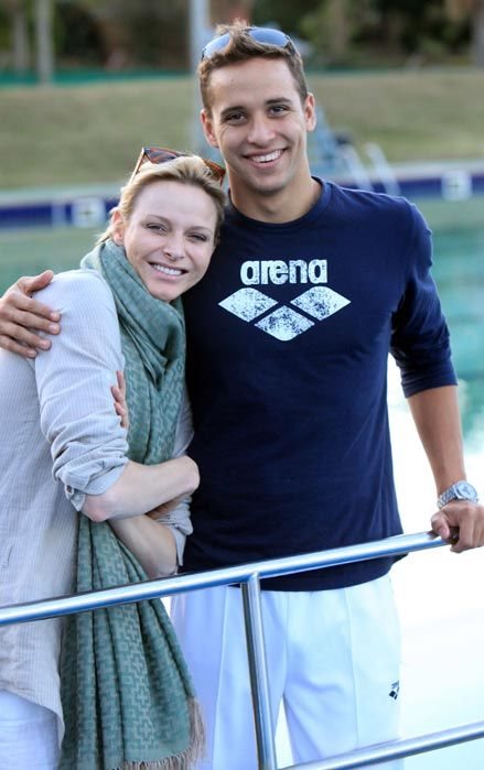 Princess Charlene returns home to South Africa - photo with Olympian Chad Le CLos,  Aug./ 12