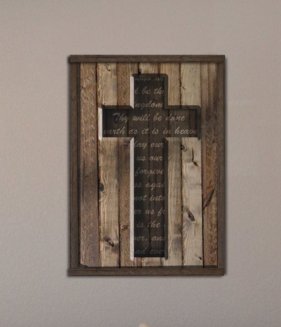 Wood Cross with Lord's Prayer from Reclaimed Wood by PalletArtsCo, $69.99