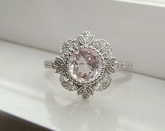 Antique Halo Morganite Diamond Ring Engagement Ring Filigree Gemstone Victorian Frame Pink Round Halo Square Setting 14K White Gold Size