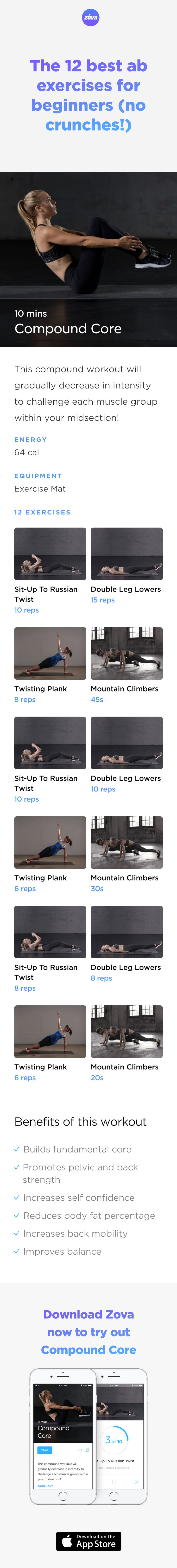 As we already know, building a strong core is the key to a healthy body. By focusing on core stabilising exercises, you'll be able to sculpt your lower abs more easily and effectively. These ab exercises are specially designed for beginners and will help you tone up and build the core strength you need. #abs #fitness #workout