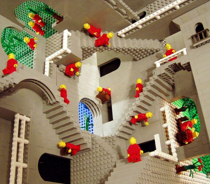 "Escher's ""Relativity"" in LEGO®: Lego Escher, Escher Relate, Mcescher, Lego Art, Escher Lego, Lego Creations, Mc Escher, Insanity Lego, Escherlego"