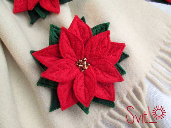 Red Poinsettia Felted Flower Christmas Brooch Pin by SvitLoShop