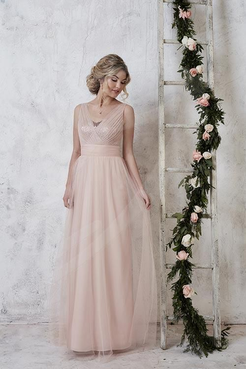 Balletts Bridal - 23450 - Bridesmaids by Jacquelin Bridals Canada - A full-length tulle gown with sequin underlay bodice, pleated waistband, and illusion v-neckline brought together by tulle straps.