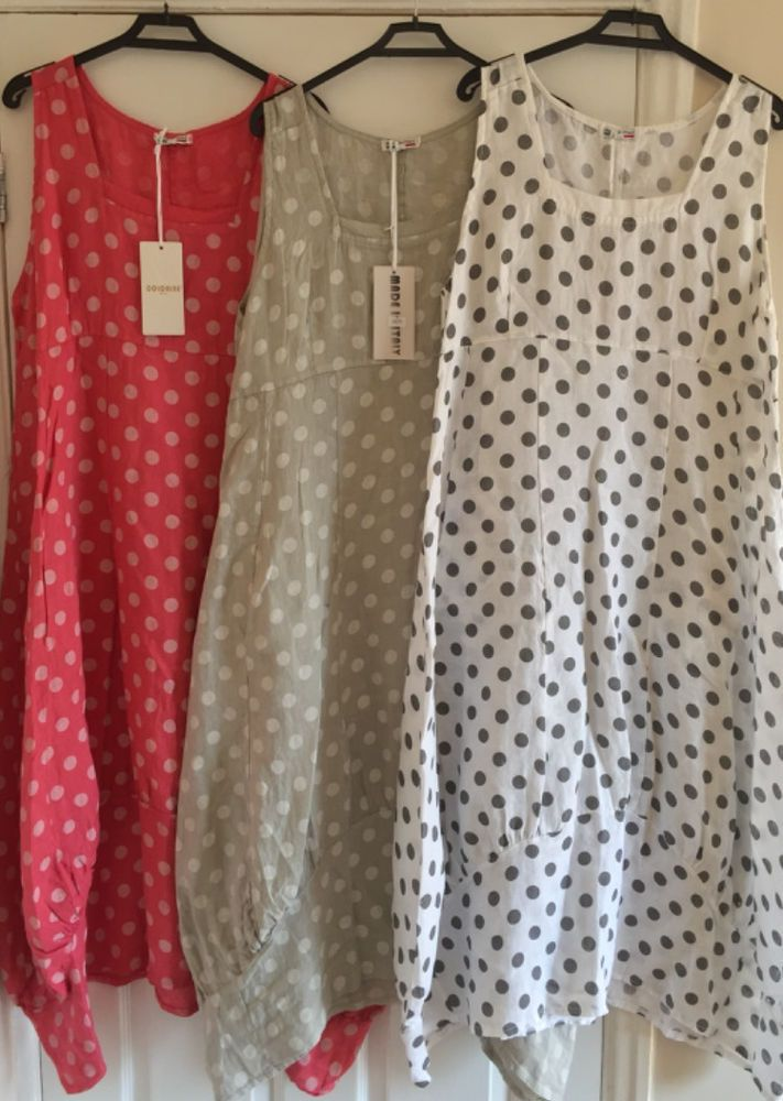 PLUS SIZE Italian LAGENLOOK POLKA DOT BALLOON Spotty Tulip SPOTTED LINEN Dress #SuperBelle #BohoHippieAsymmetricLongDress #Casual