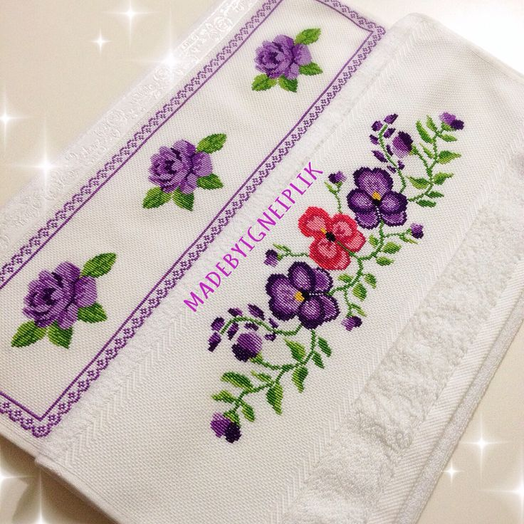 Cross stitch / rose towel