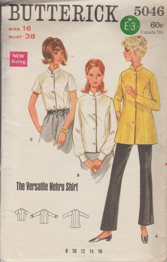 1960s Womens Nehru Shirt Vintage Sewing Pattern | 60s Mandarin Collar Tunic | Butterick 5046 | Size 16, Bust 38 | Misses Blouse Pattern