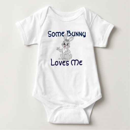 Some Bunny Loves Me design  Baby Jersey Bodysuit Not all baby bodysuits are created equal – this popular style is a must-have for your precious little bundle. The neckband is designed for easy on-and-off and a three-snap closure makes nappy changes easy peasy. Personalise it with a custom image or message or dress it up with a cute pair of socks and hat or hair accessory. There's no wrong way to wear this super soft bodysuit.
