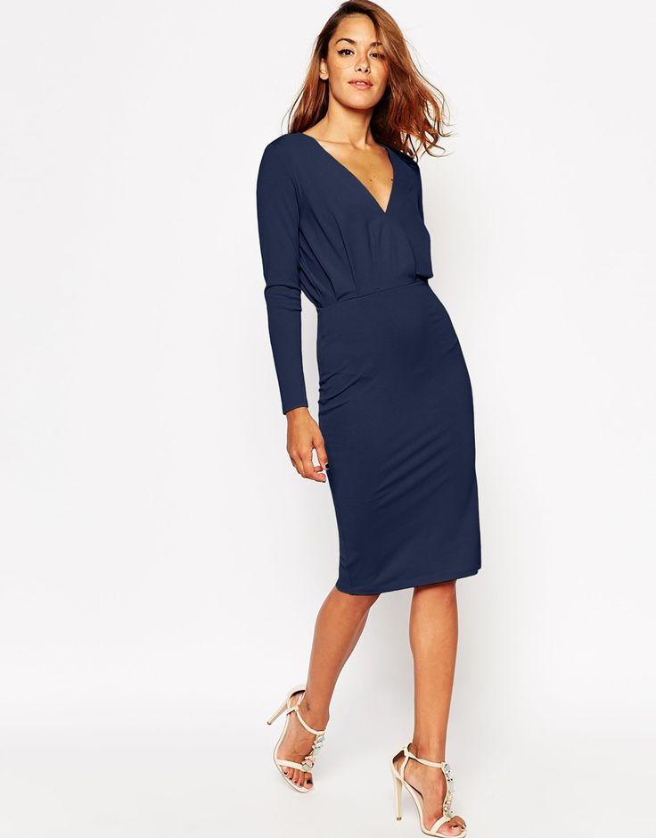 ASOS Jersey Crepe Deep Plunge Midi Dress