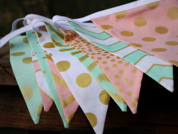 REGULARLY $42! ON SALE FOR A LIMITED TIME!  Mint, Pink, Metallic Gold Fabric Bunting Flag Banner, Garland Bunting. Chevrons, Dots, Designer