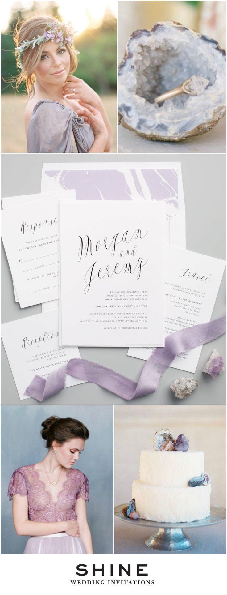 Purple Geode Wedding Inspiration | Ethereal Calligraphy Wedding Invitations | Modern Wedding