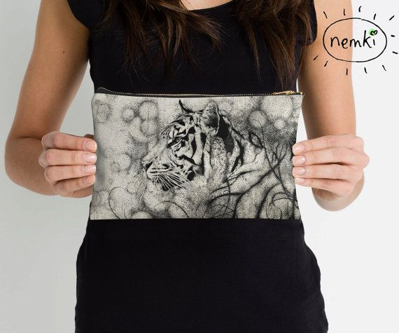Tiger Illustrated Zip Pouch Make Up Bag Pencil Case by nemki