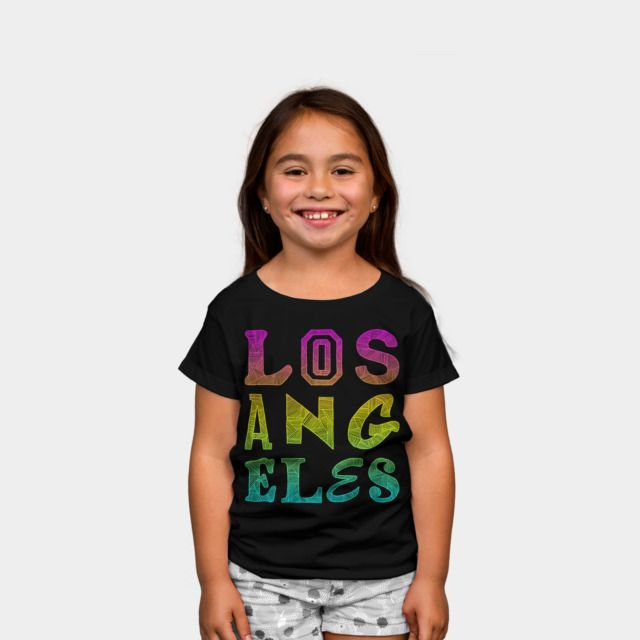 Los Angeles Kids Tee by Fimbis available as a T Shirt, Phone Case, Tank Top, Crew Neck, Pullover, Zip. #fashion #LA #typography #cityofangels #california #pink #yellow #kidsfashion #children