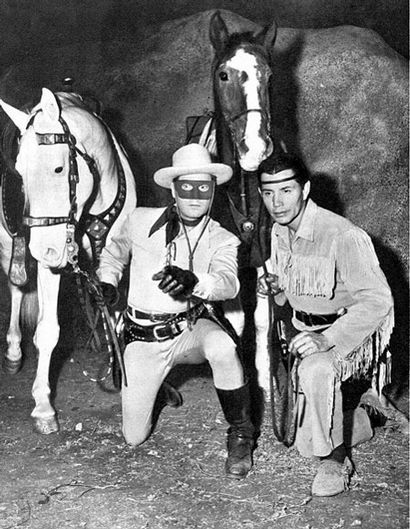 """The Lone Ranger and Tonto. """"Hi-ho silver... away!""""  My sisters would make me watch this."""