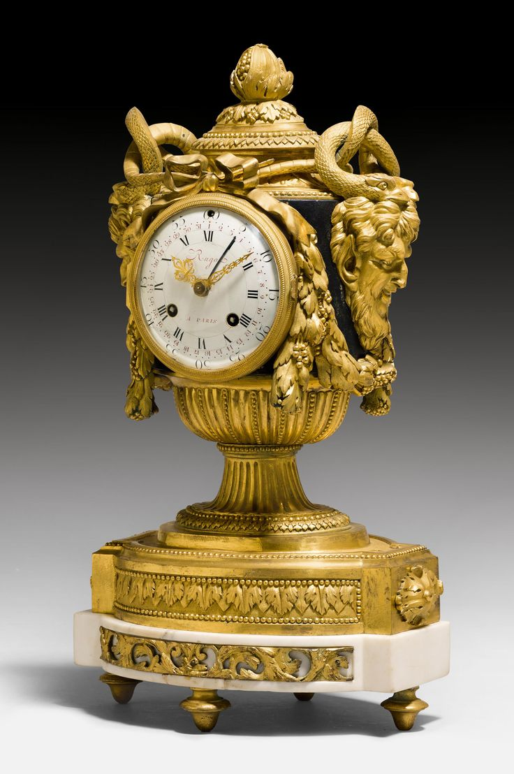 "MPORTANT CLOCK ""AUX TETES DE FAUNES"", Louis XVI, the model attributable to R. OSMOND (Robert Osmond, maître 1746), the dial signed RAGOT A PARIS (François Ragot, maître 1785), Paris ca. 1770. CHF 28 000 / 38 000"