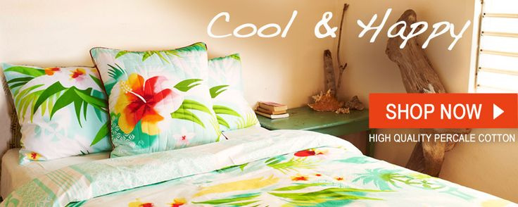 Cool and happy duvet cover with big hawaii flower, sea green. Nice for bed room!